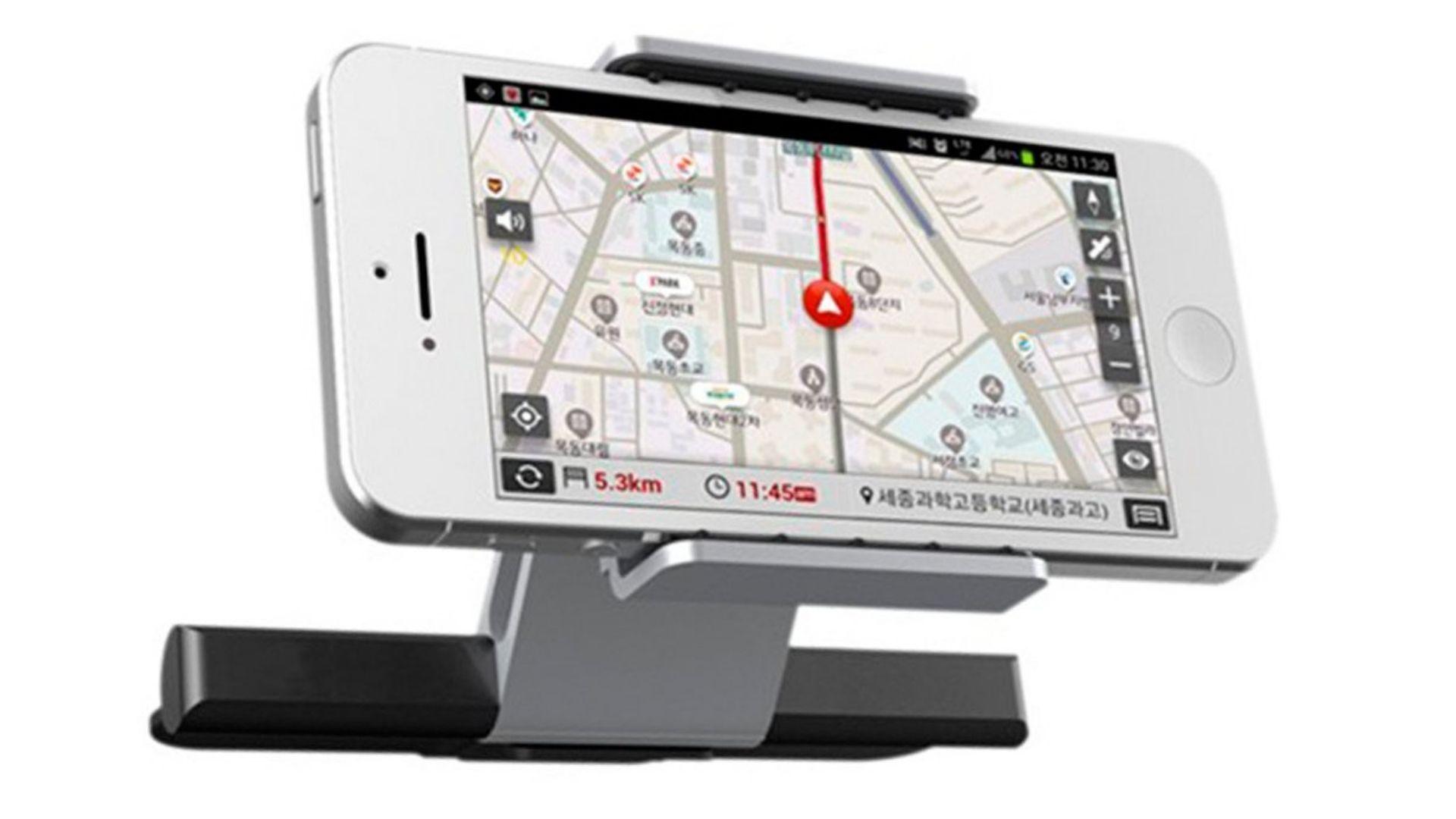Suporte de celular para carro com iPhone branco acoplado em fundo branco