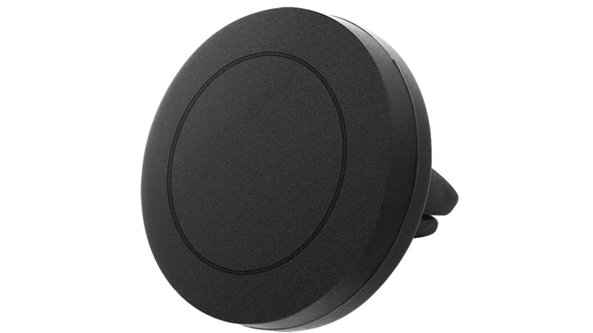 Suporte de celular para carro na cor preta arredondado em fundo branco