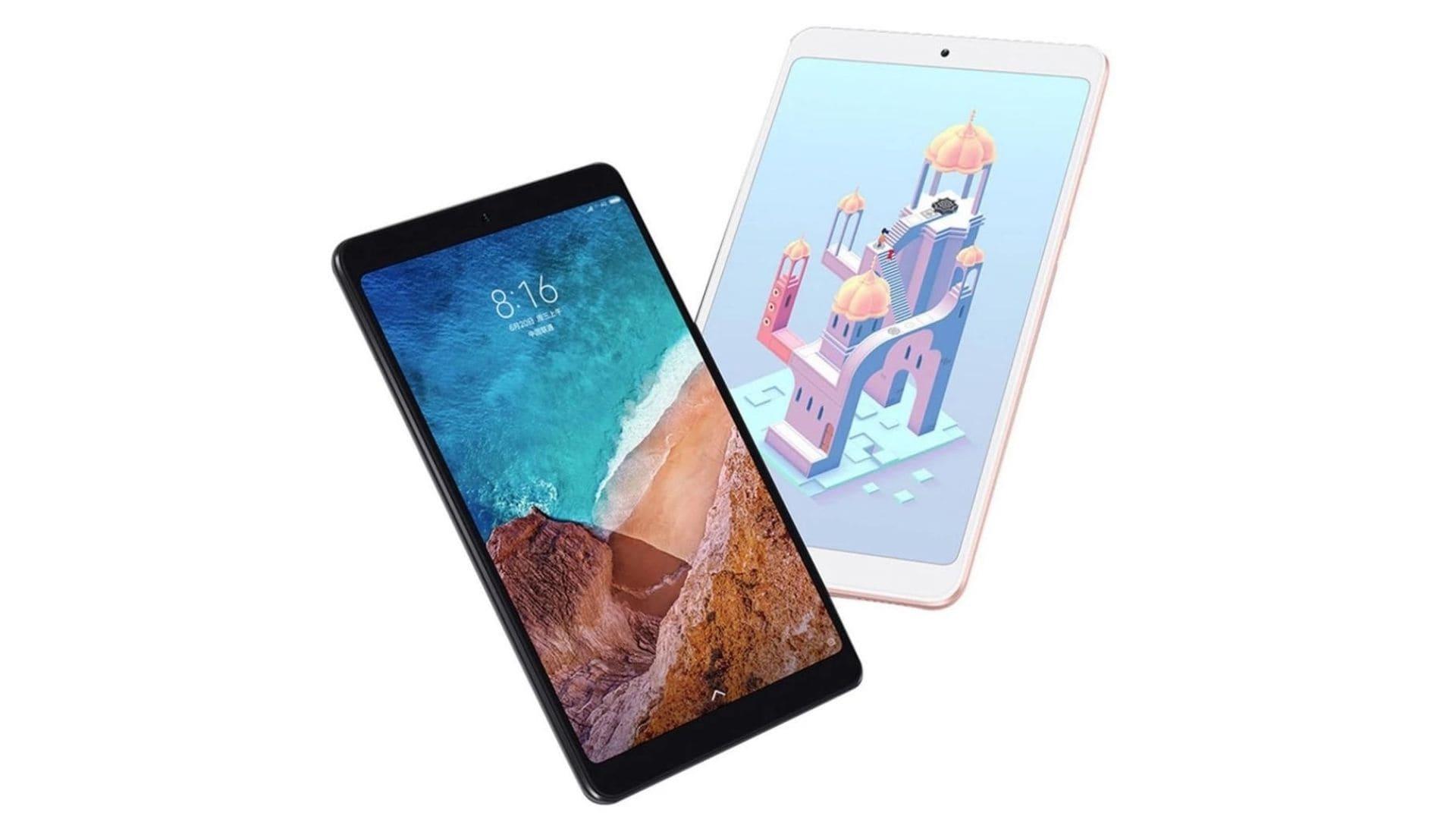 Tablet Xiaomi Mi Pad Plus 4 de frente e de traseira em fundo branco