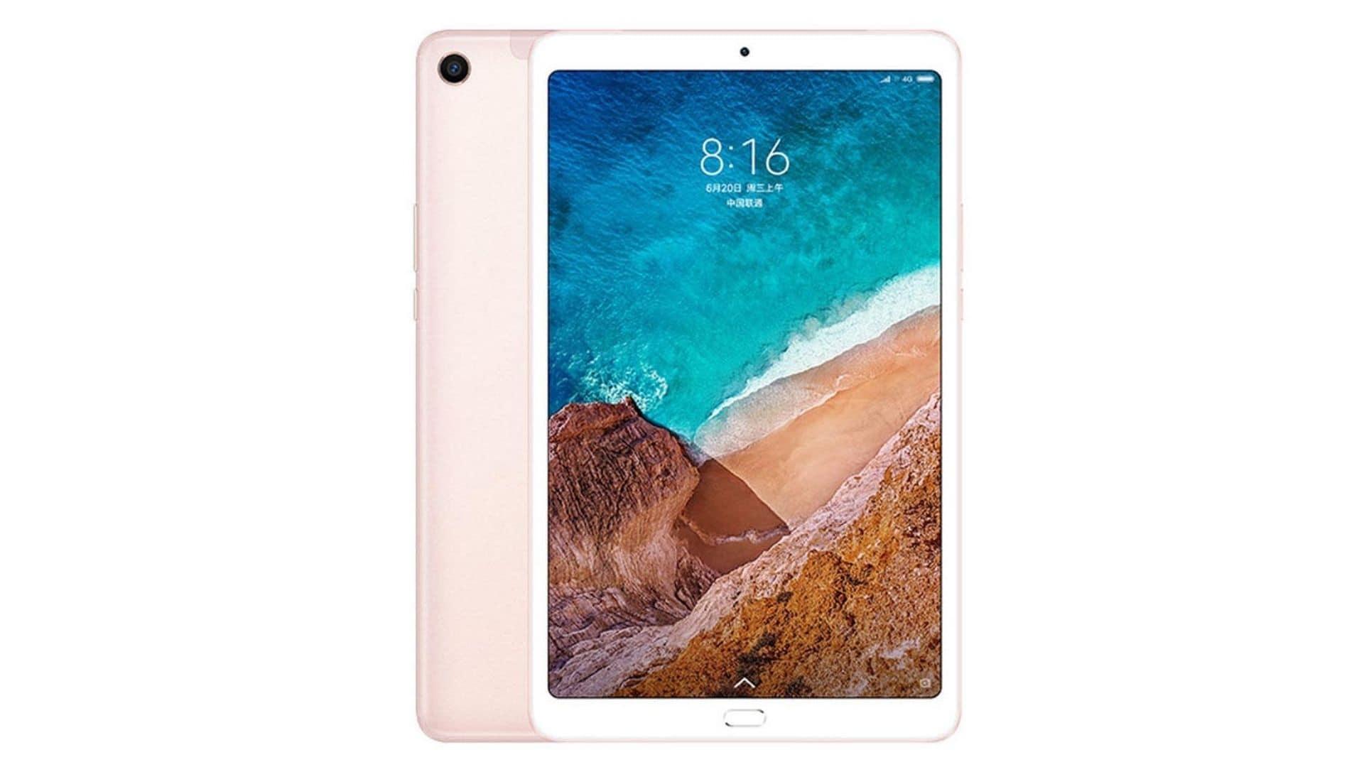 Tablet Xiaomi Mi Pad 4 rosa de frente e de traseira no fundo branco