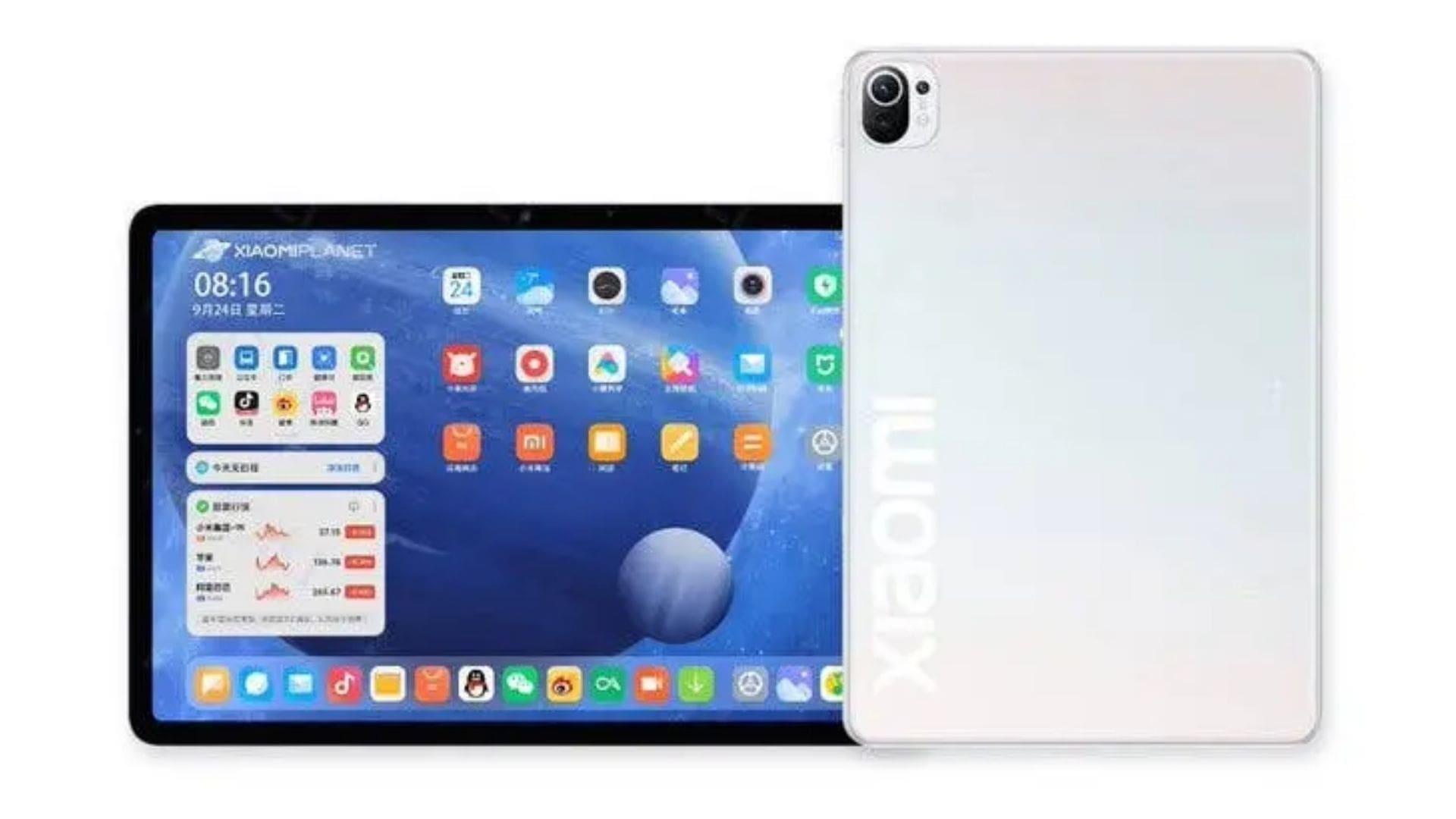 Tablet Xiaomi Mi Pad 5 deitado e em pé, de frente e verso, na cor branca e em fundo branco