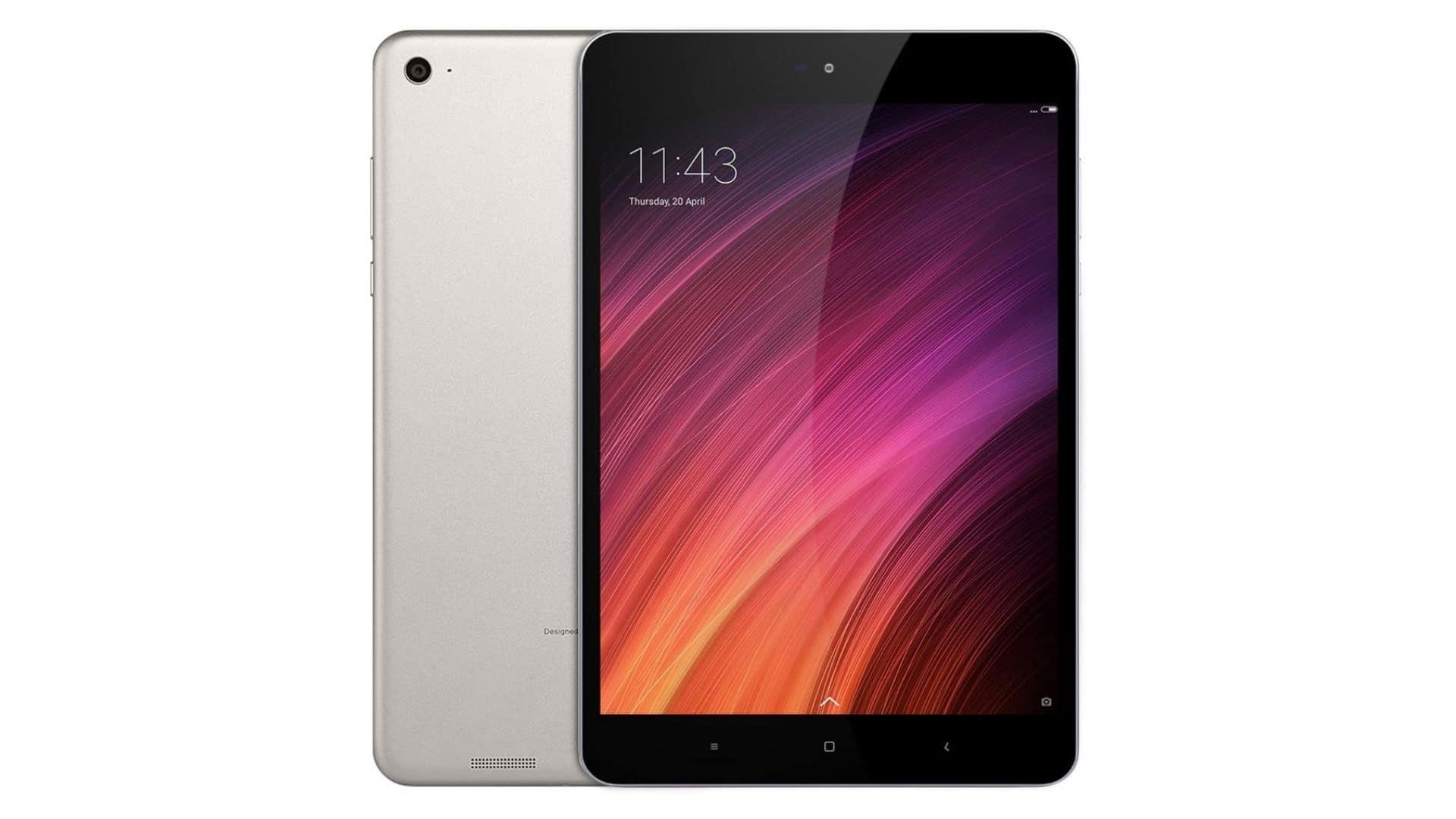 Tablet Xiaomi Mi Pad 3 prata de traseira e de frente em fundo branco