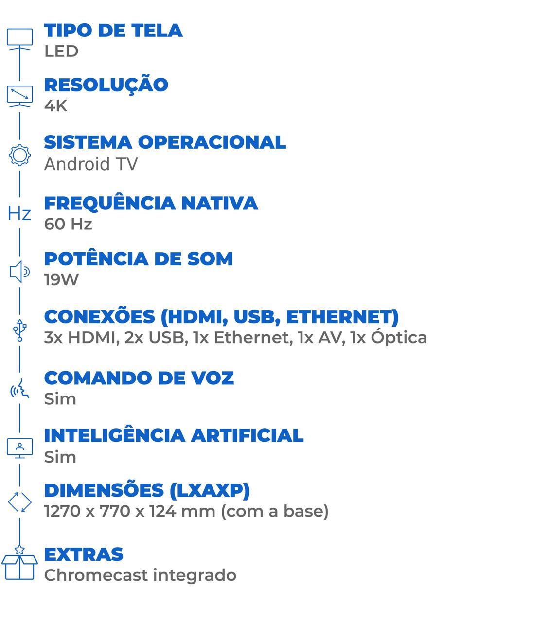 Ficha técnica da smart TV TCL P615