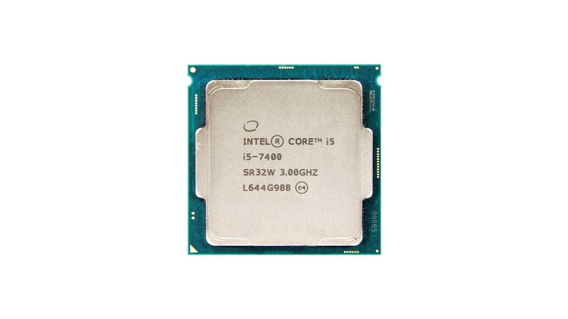 Chip do processador Intel Core i5 7400 em fundo branco