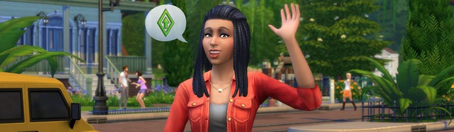 Personagem de The Sims acena para câmera