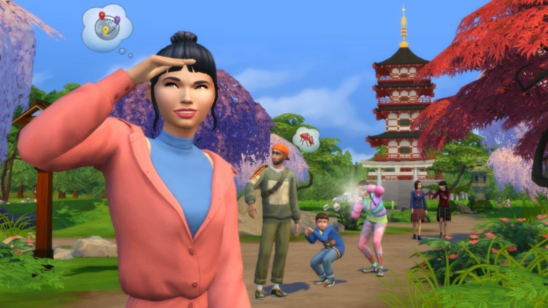 Personagem de The Sims busca algo com outro personagem ao fundo