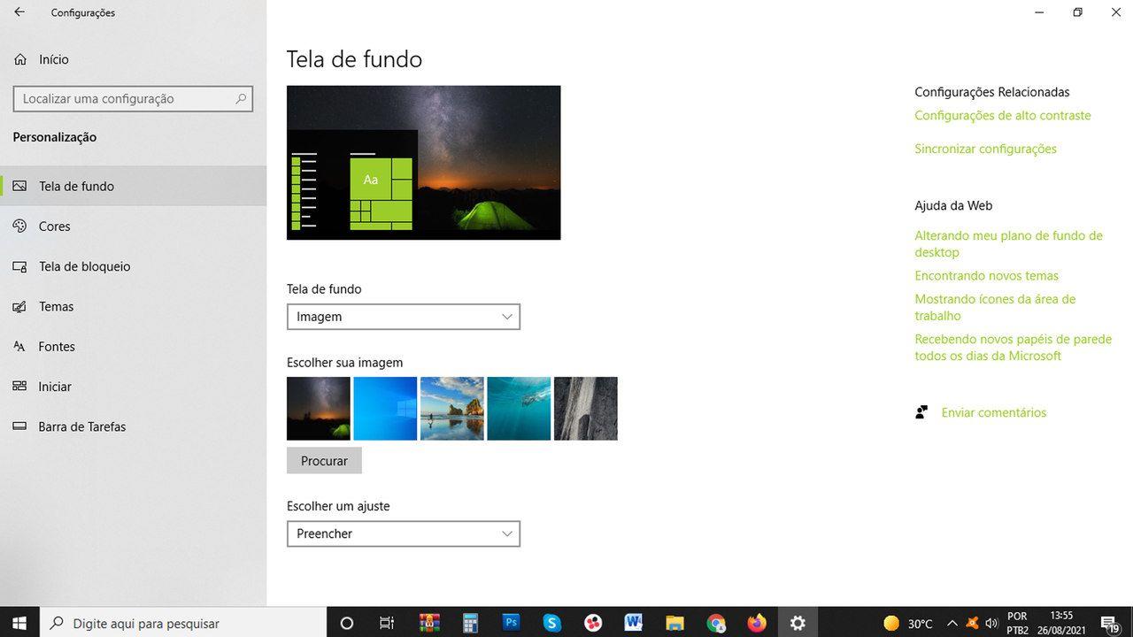 Print da seleção de imagens de fundo de tela no Windows