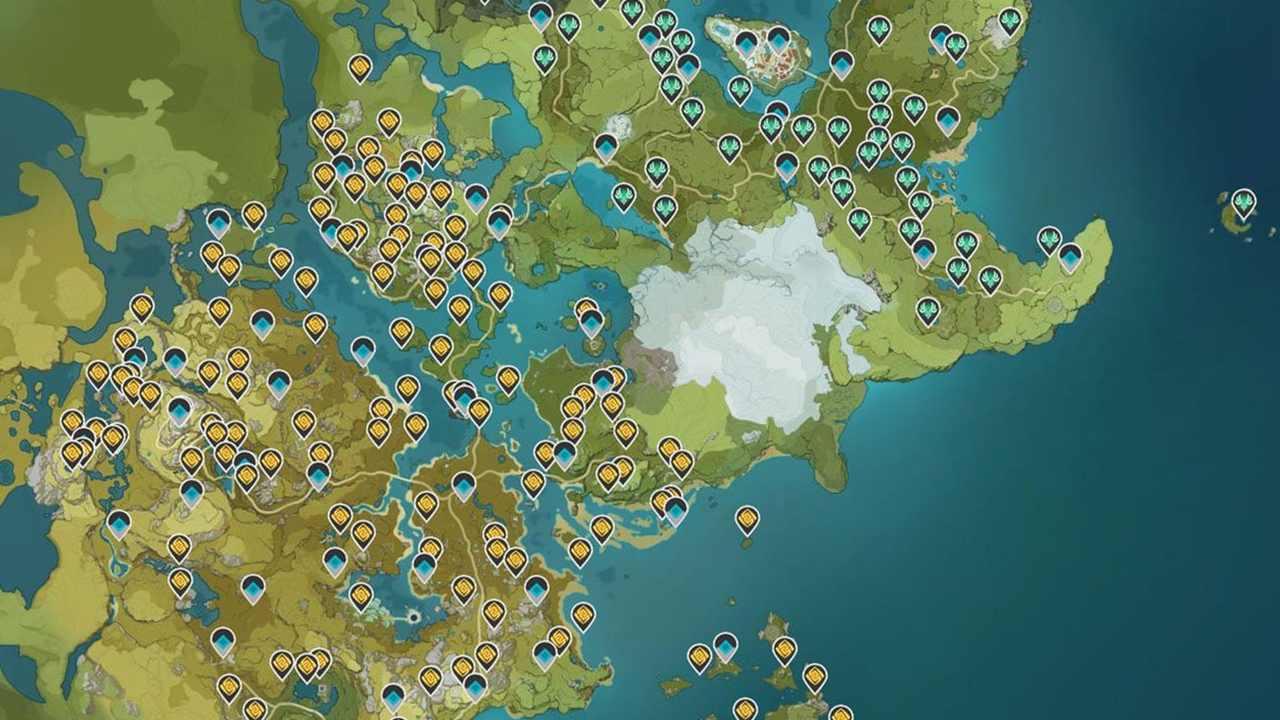 Mapa do jogo Genshin Impact.