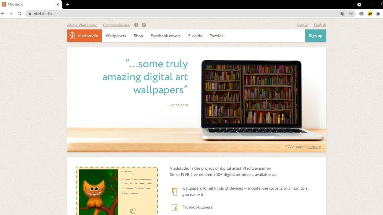 Site Vladstudio com banner de fundo de tela em destaque