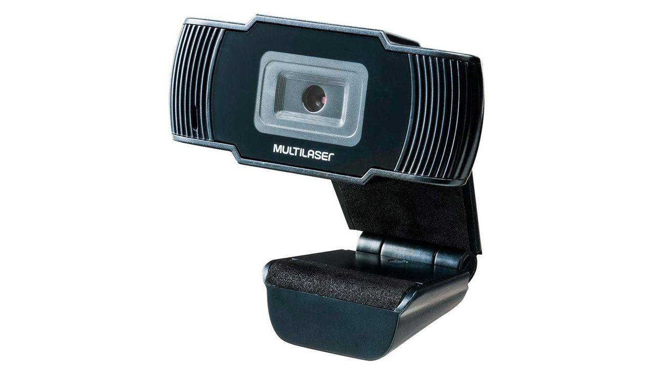 Webcam Multilaser Office HD preta no fundo branco