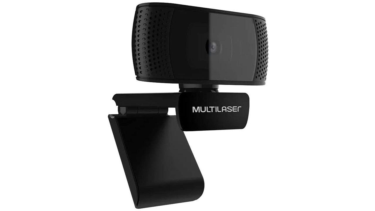 Webcam Multilaser WC050 preta no fundo branco