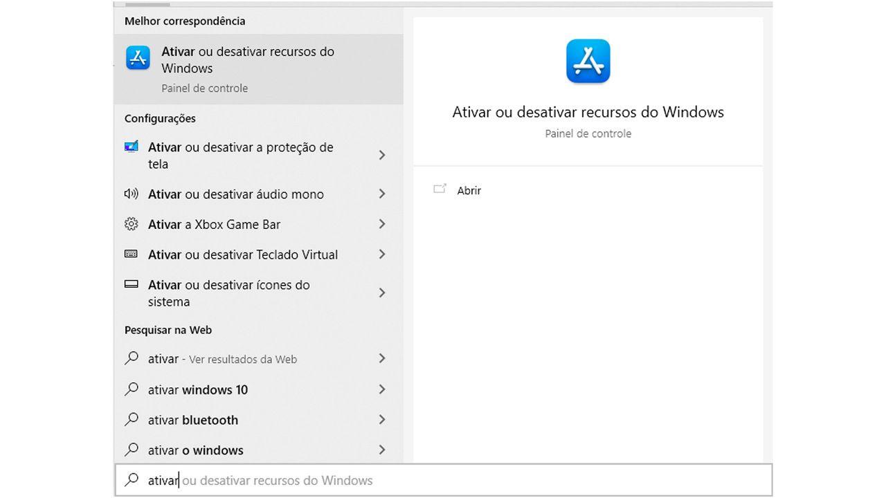 Print do menu iniciar com a pesquisa Ativar ou desativar recursos do Windows.