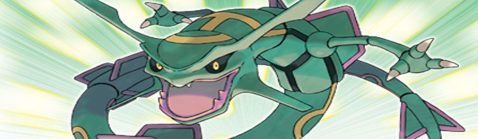 Pokémon lendário Rayquaza, uma grande criatura verde com características de serpente e dragão
