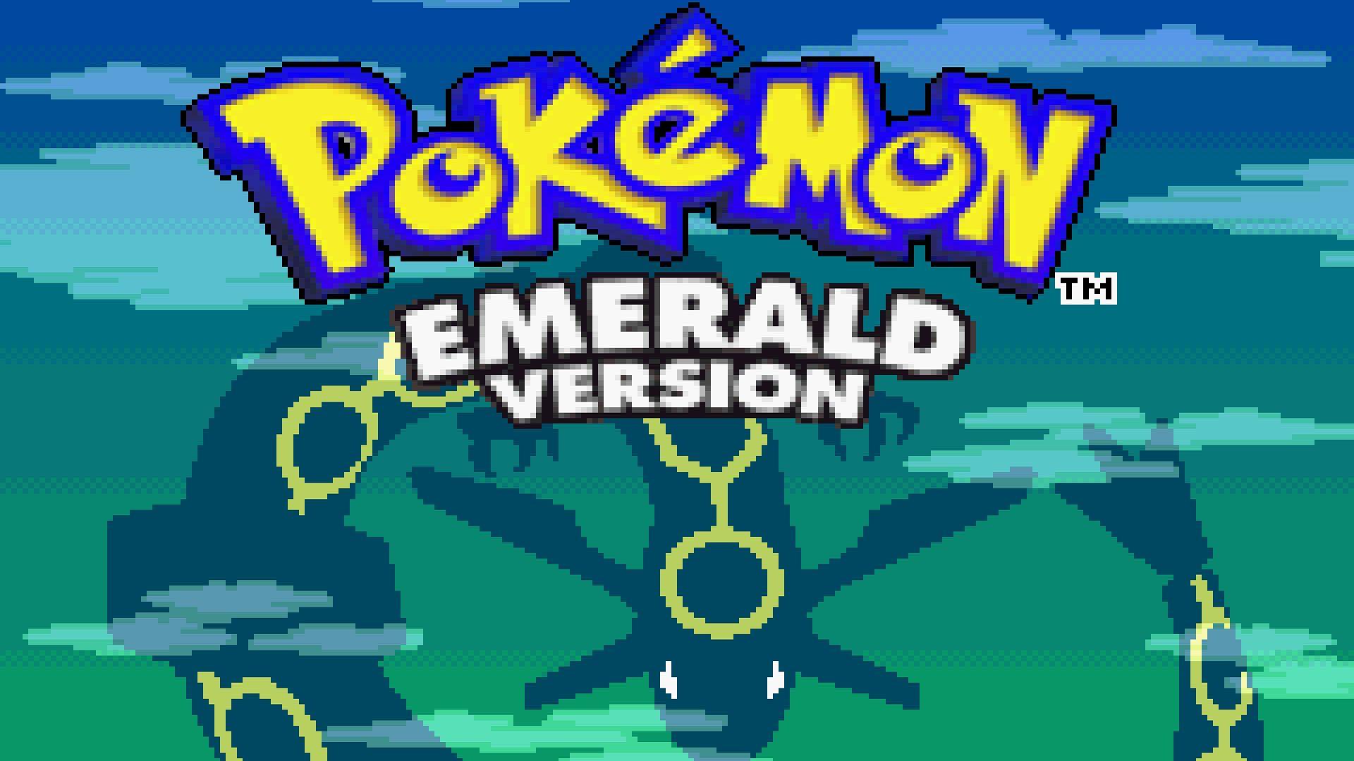 Tela título de Pokémon Emerald do Game Boy Advance com o nome do jogo e a sombra do pokémon lendário ao fundo