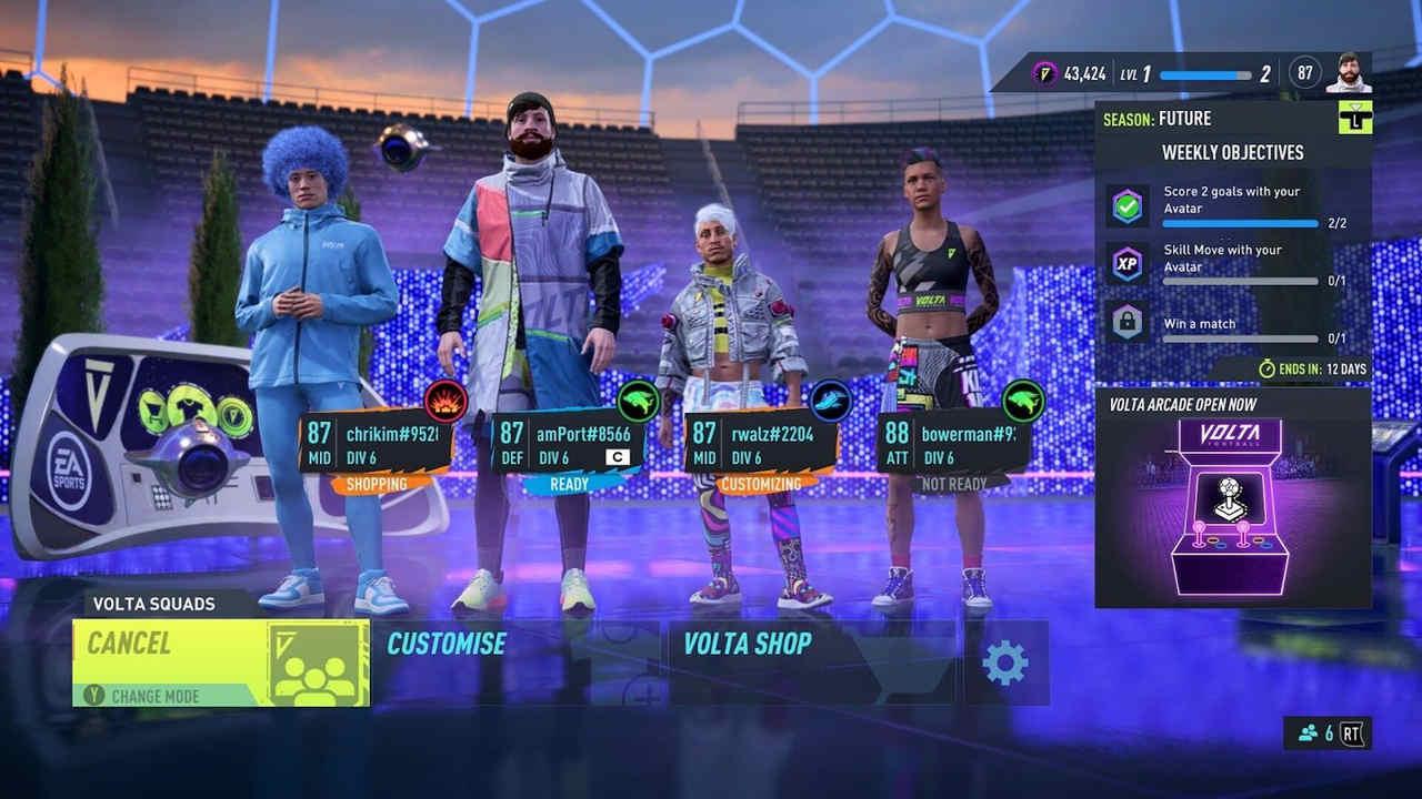 Grupo com quatro jogadores vestido de maneira eclética em menu antes de uma partida