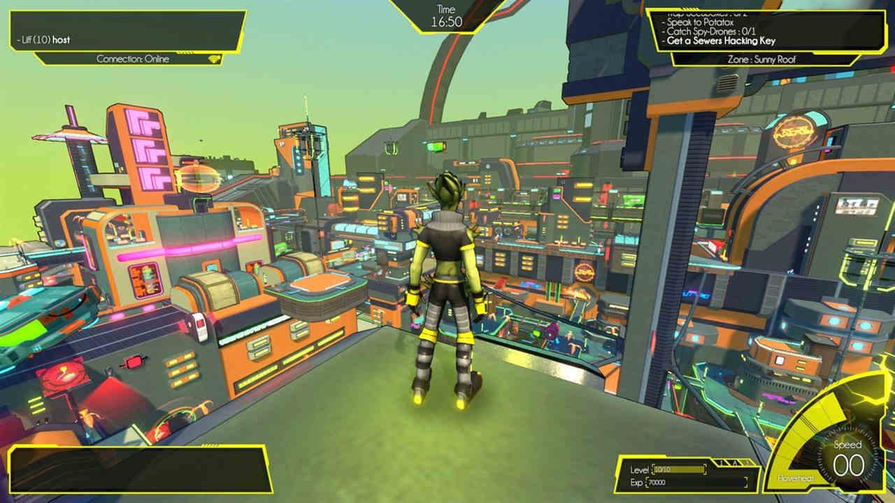 Personagem no topo de um prédio aprecia a vista da colorida cidade de Hover city do alto