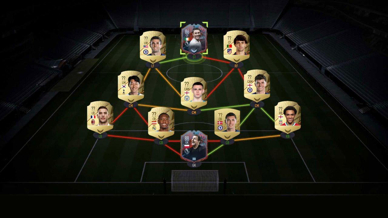 Onze ícone de jogadores de futebol conectados por linhas que indicam sua posição em campo
