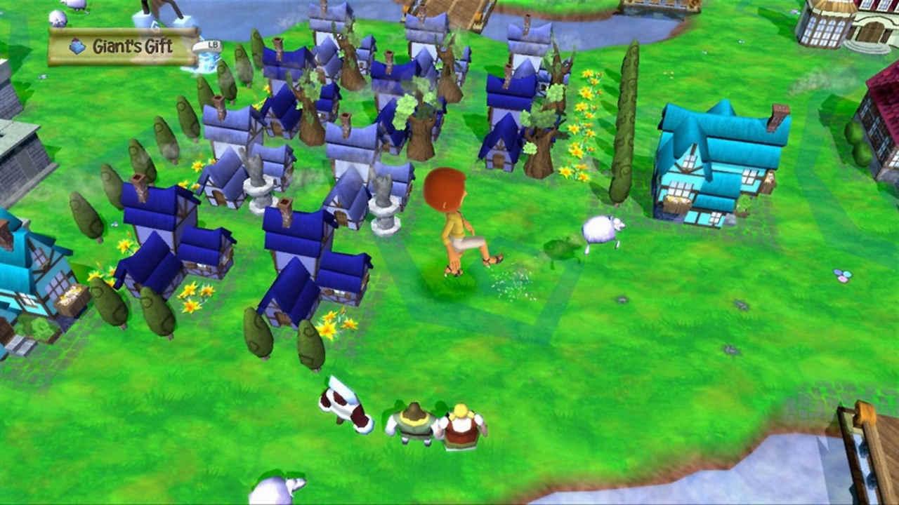 Avatar da Xbox Live Gold anda próximo a uma cidade dos Keflings, criaturas semelhantes a humanos, porém pequenas