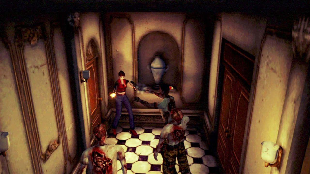 Claire Redfield atira contra zumbis encurralada em um corredor com ângulo de câmera afastado como nos Resident Evil clássicos