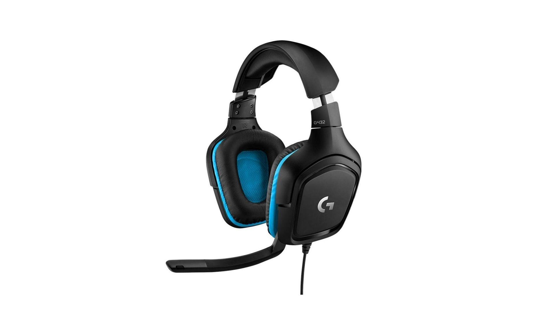 TAG Alt: Headset Logitech G432 em tons de preto e azul