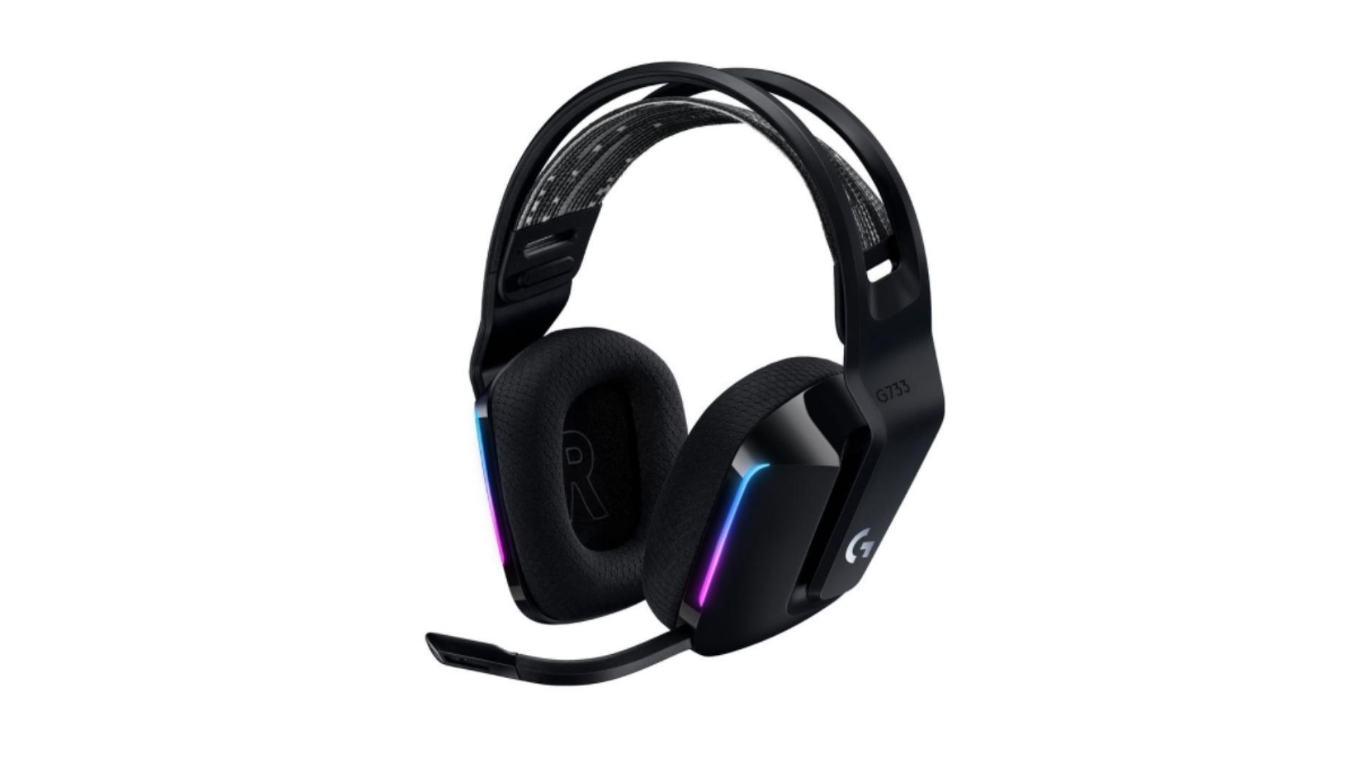 Headset Logitech G733 com arco para cabeça e almofadas em tons de preto e iluminação RGB