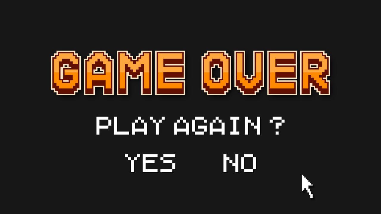 Tela preta escrito Game Over em laranja e Play Again?, Yes e No em branco abaixo, com um cursor de mouse ao lado