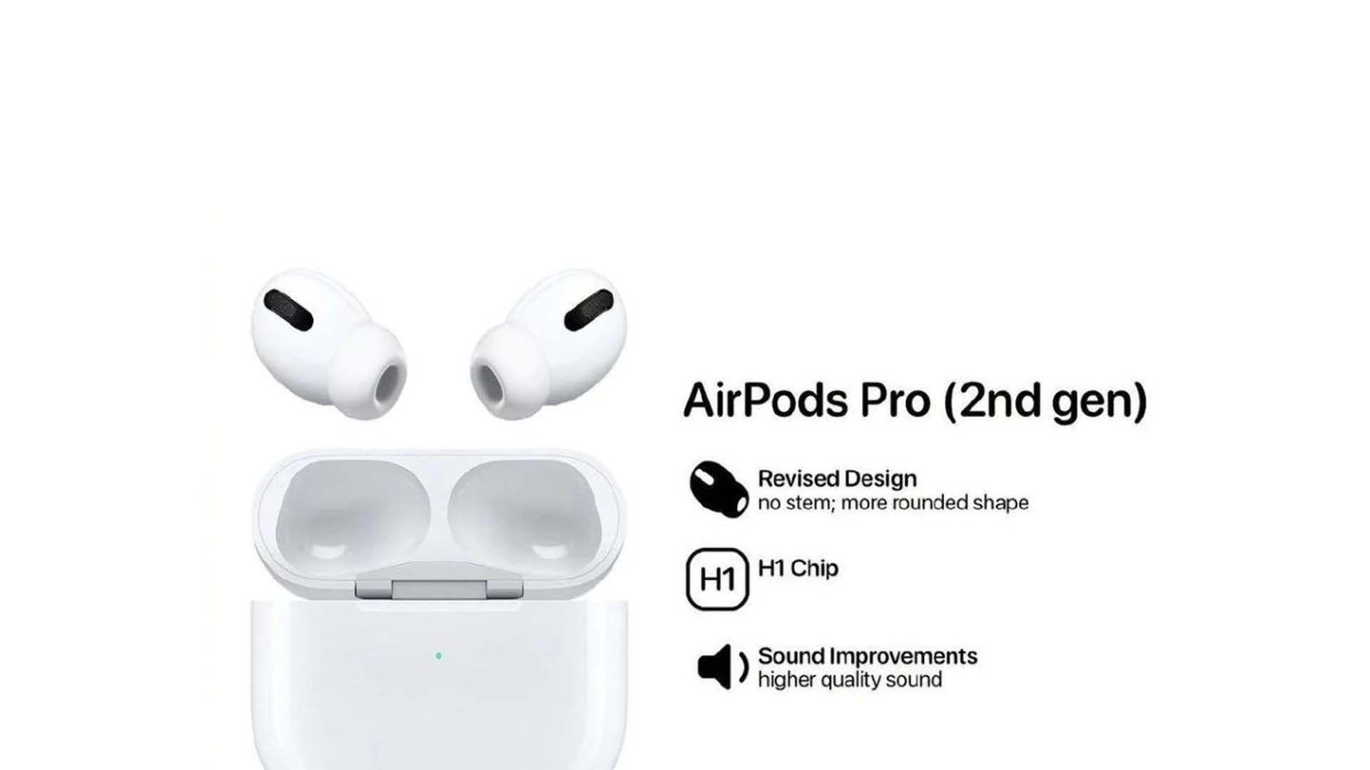 Imagem do possível design do AirPods 2 Pro.