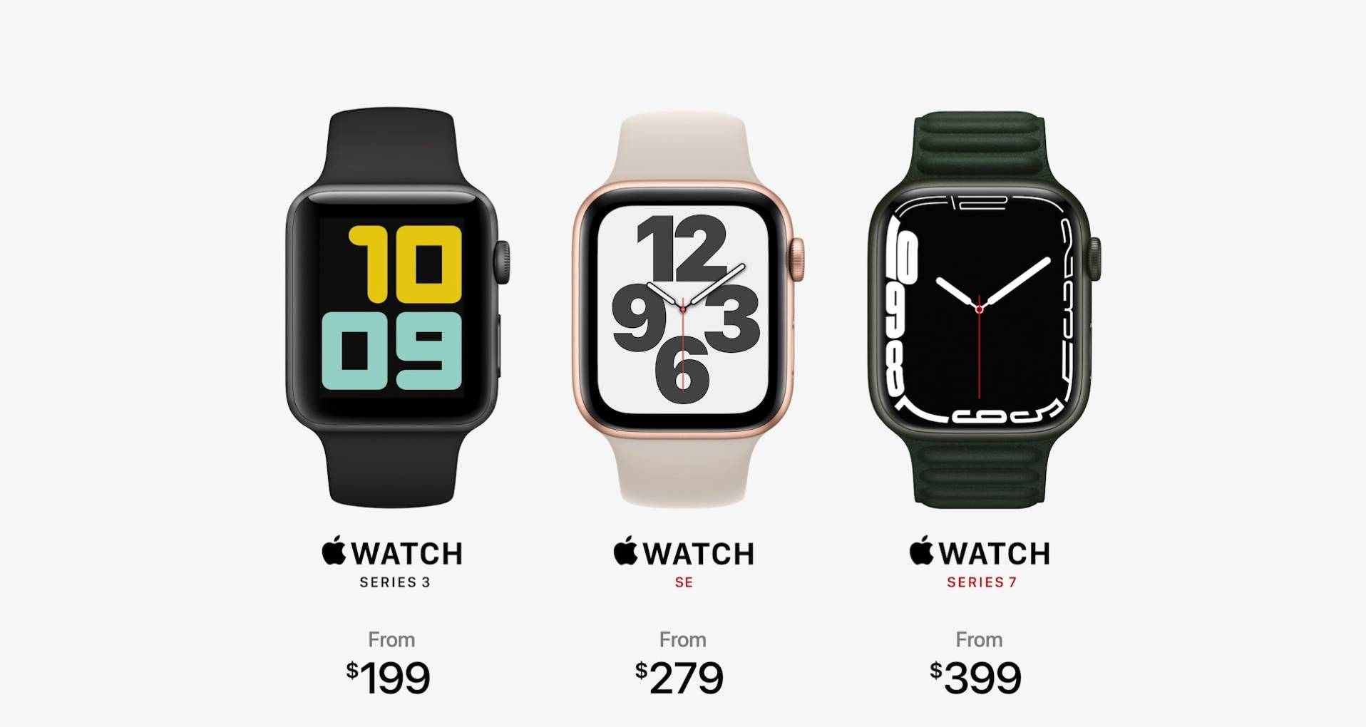 Três Apple Watch de diferentes modelos e cores, com o preço sugerido abaixo de cada um