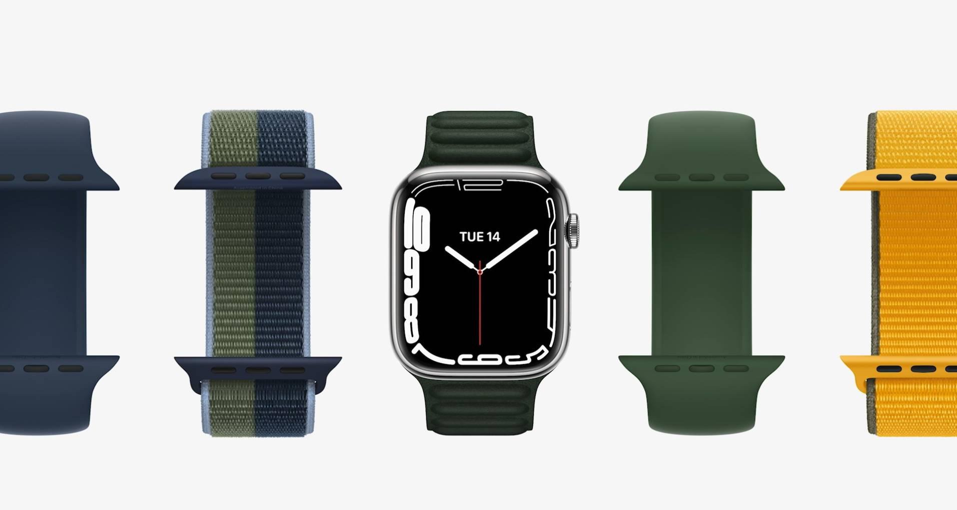 Corpo do Apple Watch 7 em meio a pulseiras de diferentes tipos e cores