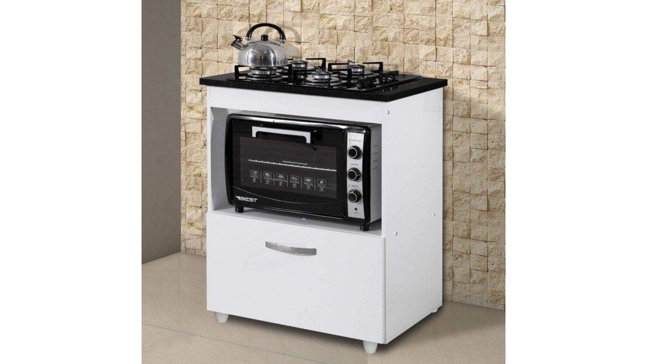 Balcão para cooktop 4 bocas com espaço para forno elétrico ou micro-ondas e gaveta