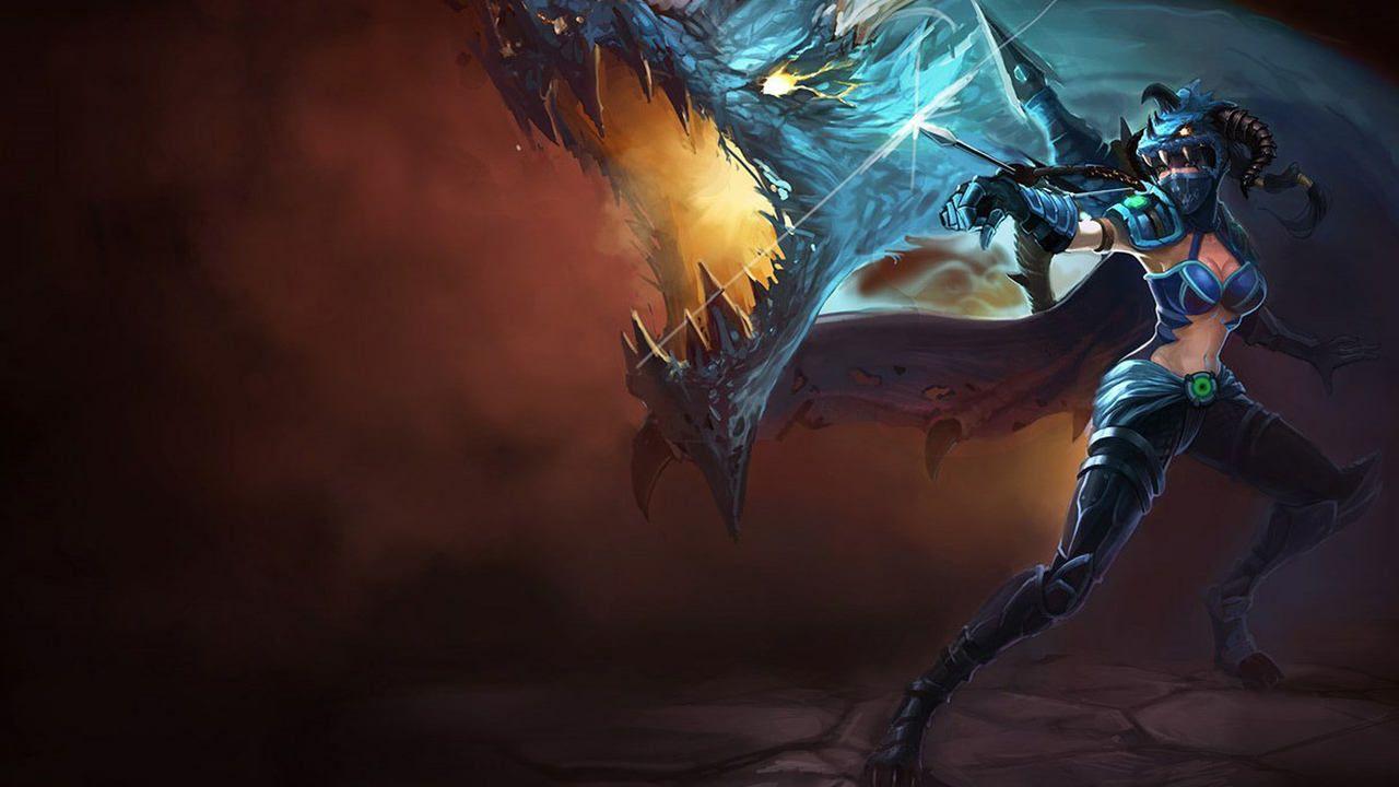 LoL skin Vayne Caçadora de Dragões atirando uma flecha