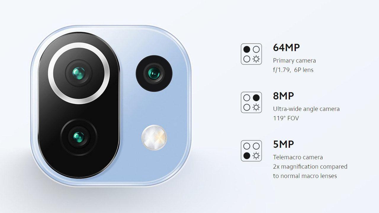 Câmeras do Mi 11 Lite em destaque com arte destacando as especificações técnicas do lado direito