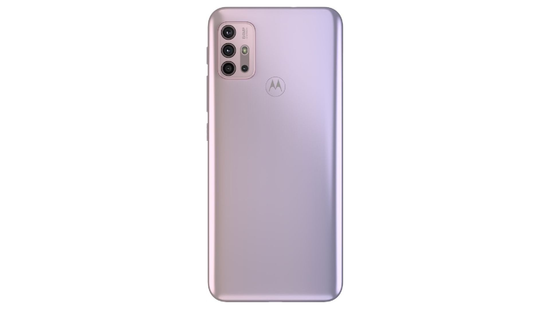 Parte traseira do celular Moto G30 lilás com conjunto de quatro câmeras e símbolo da Motorola