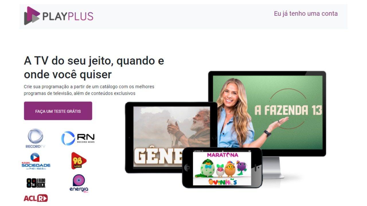 Print da tela inicial do site PlayPlus