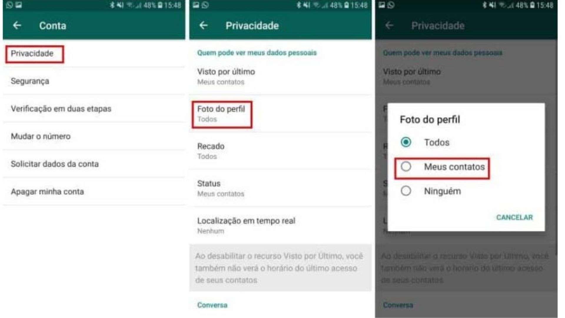 """Print mostra como ocultar foto de perfil para algumas pessoas clicando em """"Privacidade"""" depois em """"Foto de perfil"""" e finalmente em """"Meus contatos"""""""