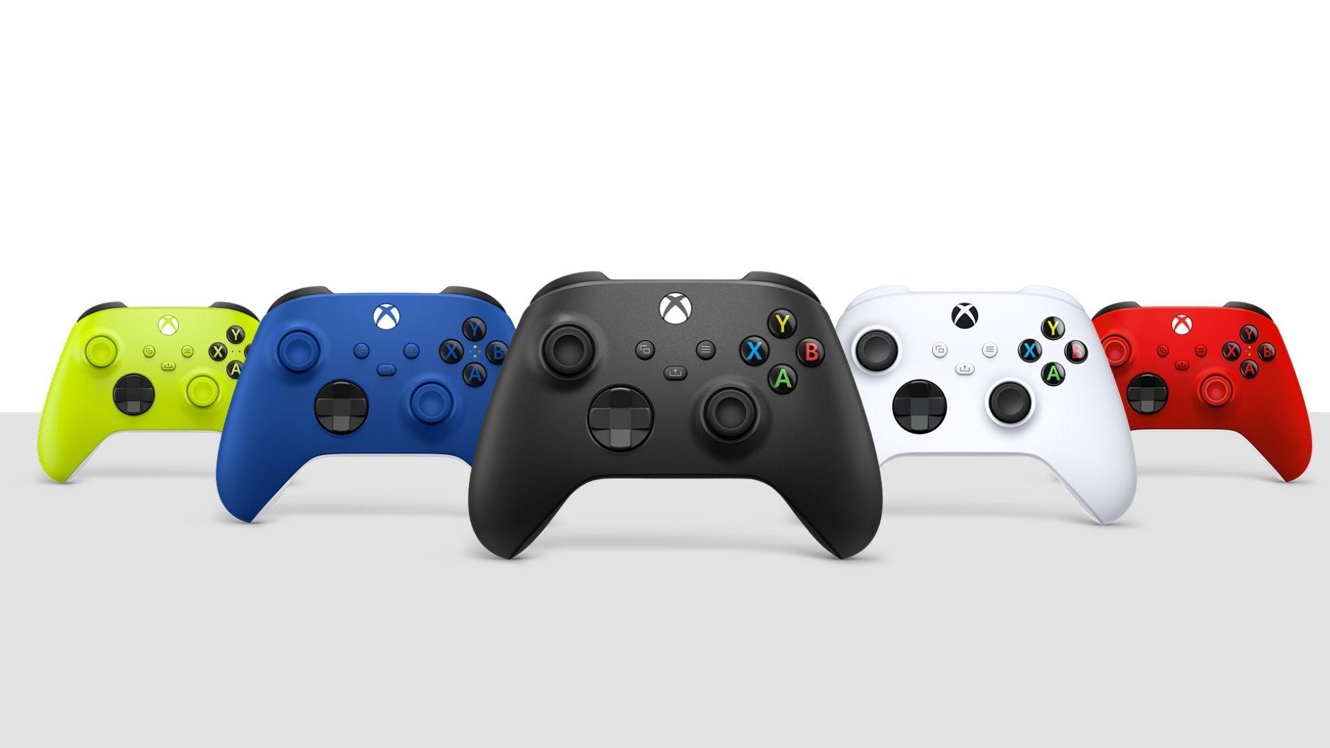 Opções de cores do controle xbox series x/s: verde, azul, preto, branco e vermelho