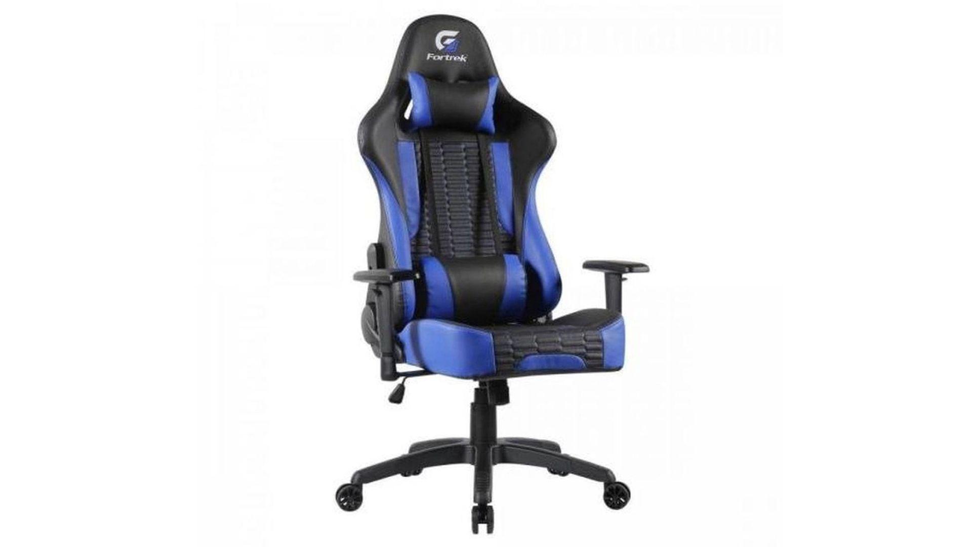 Destaque da cadeira gamer azul e preta Cruizer Fortrek