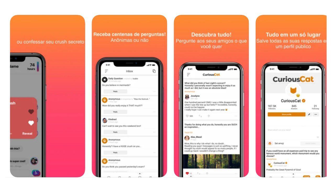 Prints do aplicativo Curious CAT mostrando como ele funciona