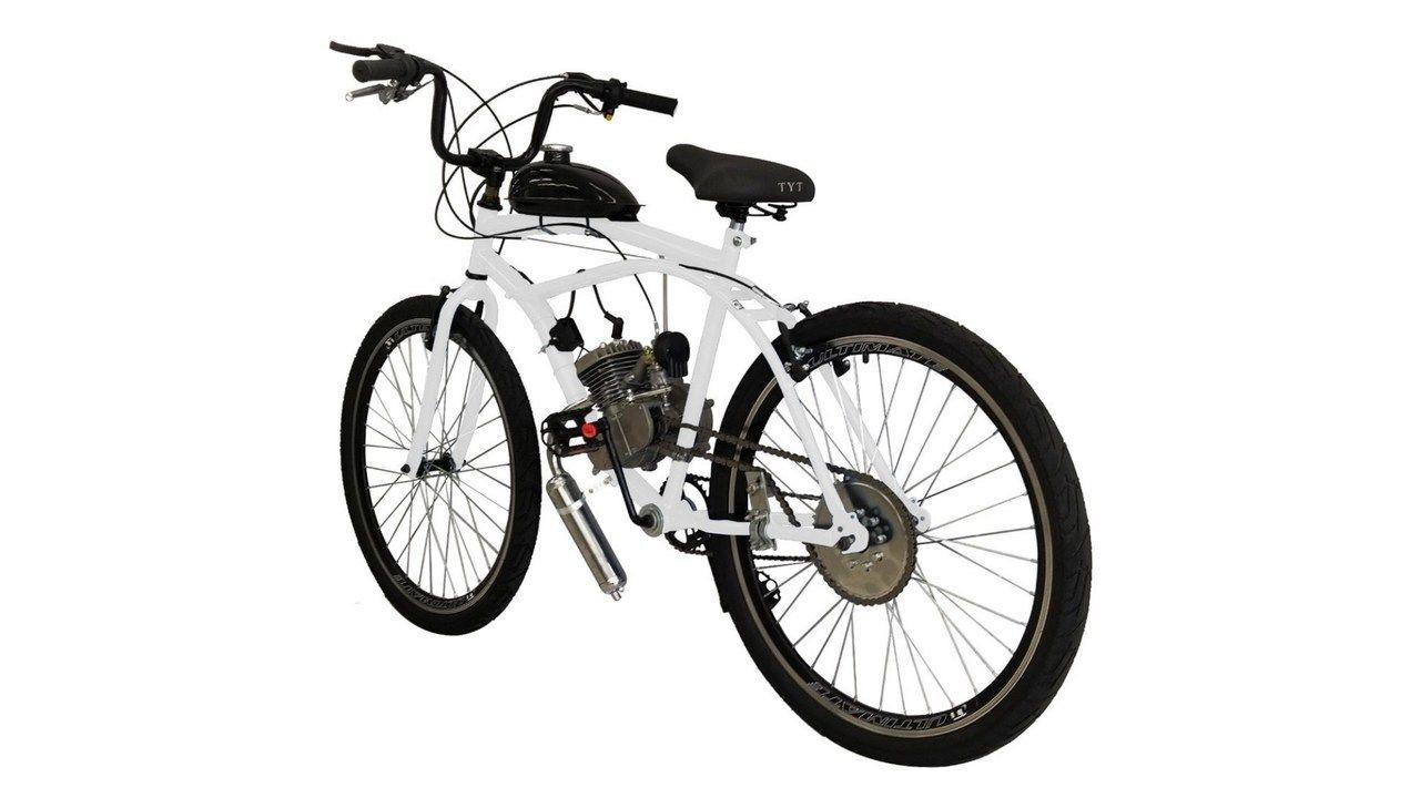 Bicicleta motorizada branca da marca Via Appia, com tanque e guidão retos