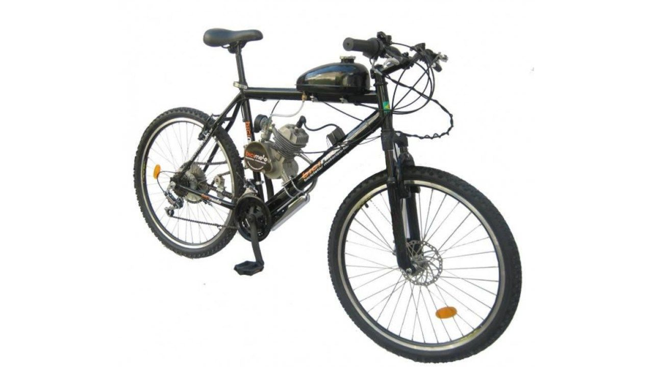 Bicicleta motorizada preta da marca Bicimoto, modelo 80 cilindradas