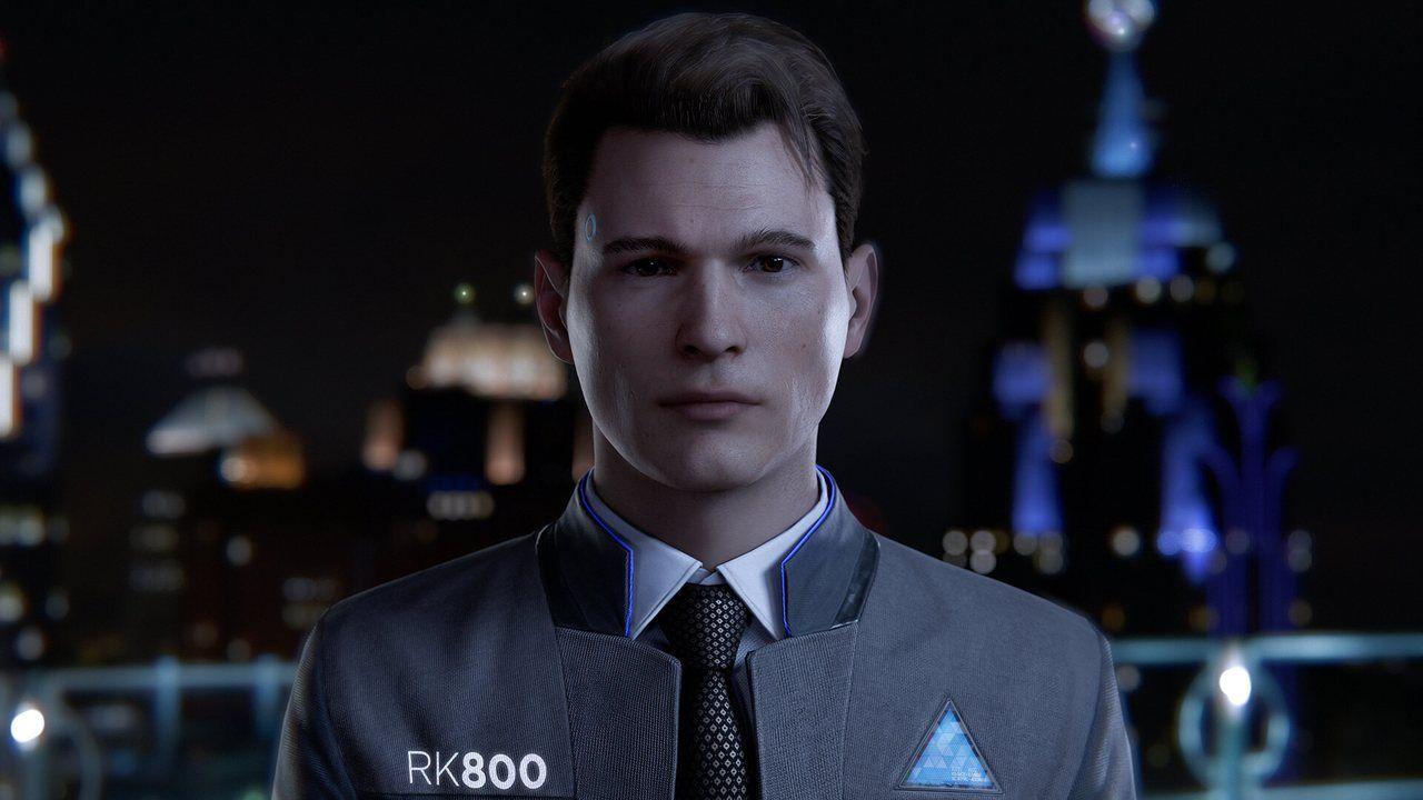 Cena de Detroit Become Human em que Connor, similar a um homem branco de cabelos castanhos, está centralizado de frente com fundo desfocado