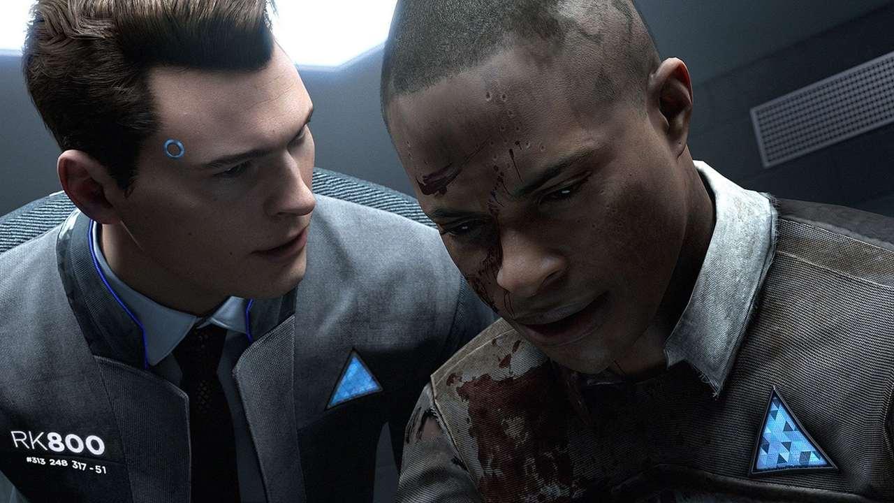 Cena de Detroit Become Human com o android Connor interrogando um android coberto de sangue