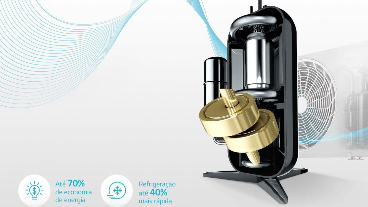 """Compressor Dual Inverter em fundo cinza com os escritos """"Até 70% de economia de energia"""" e """"Refrigeração até 40% mais rápida"""" ao lado"""