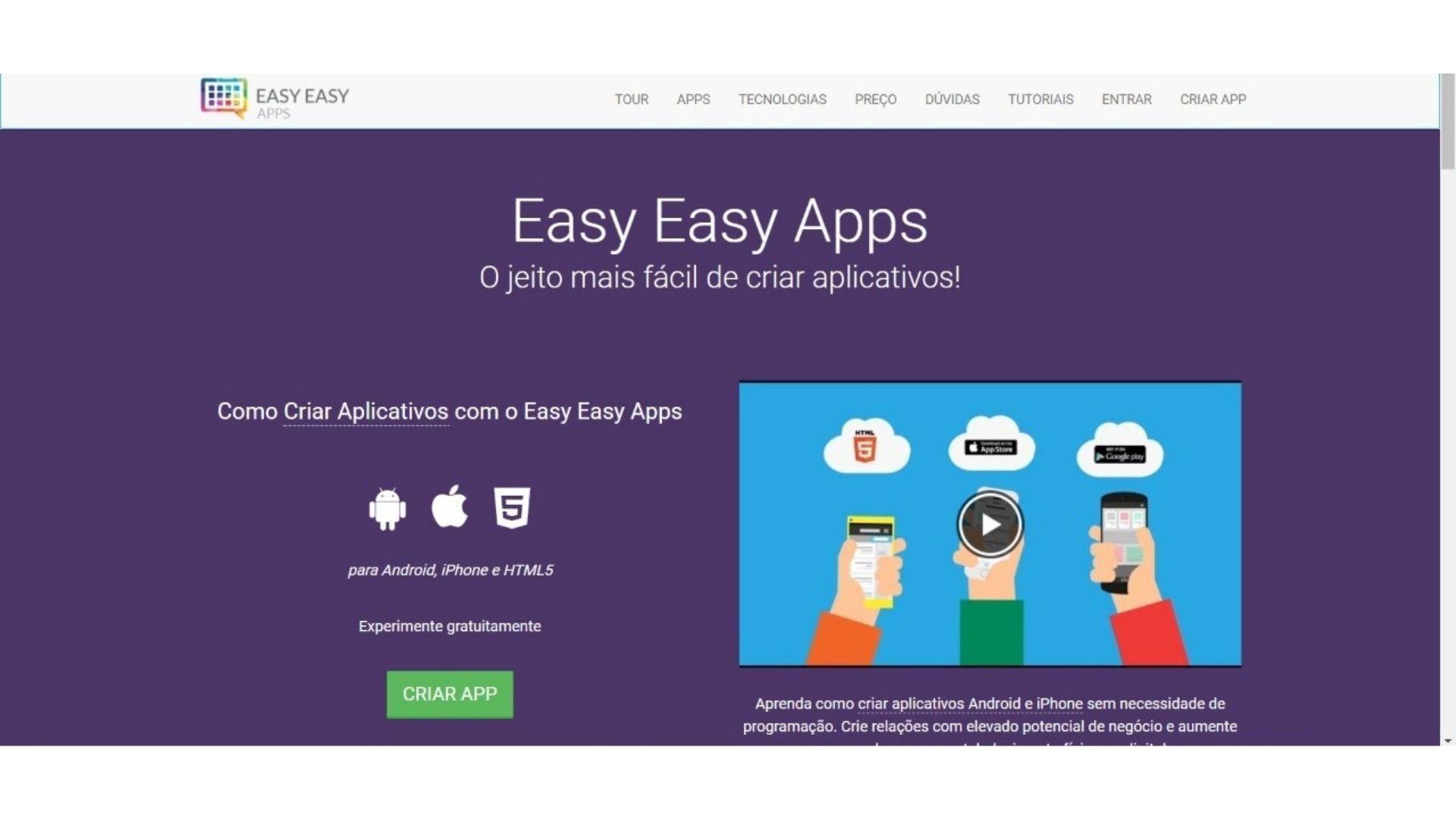 Print mostra página inicial do site Easy Easy Apps