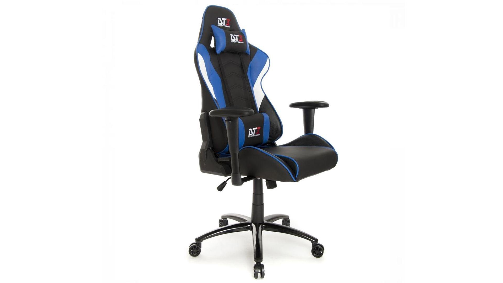 Cadeira gamer azul reclinável Elise DT3sports em destaque