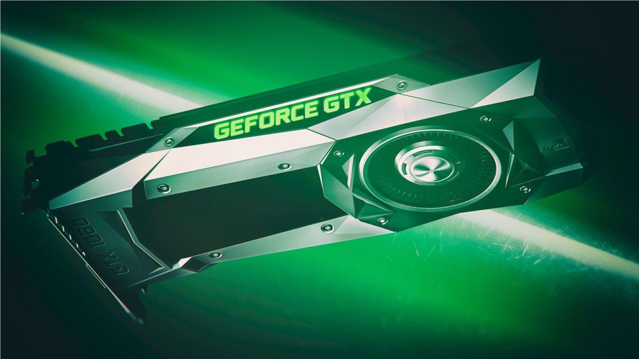 Placa de vídeo GTX 1080 em fundo verde