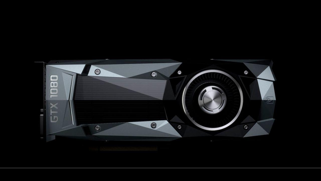 Foto da placa de vídeo GTx 1080.