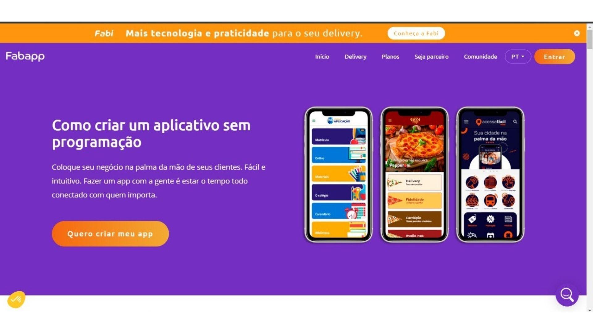 Print mostra página inicial do site Fabrica de Aplicativos