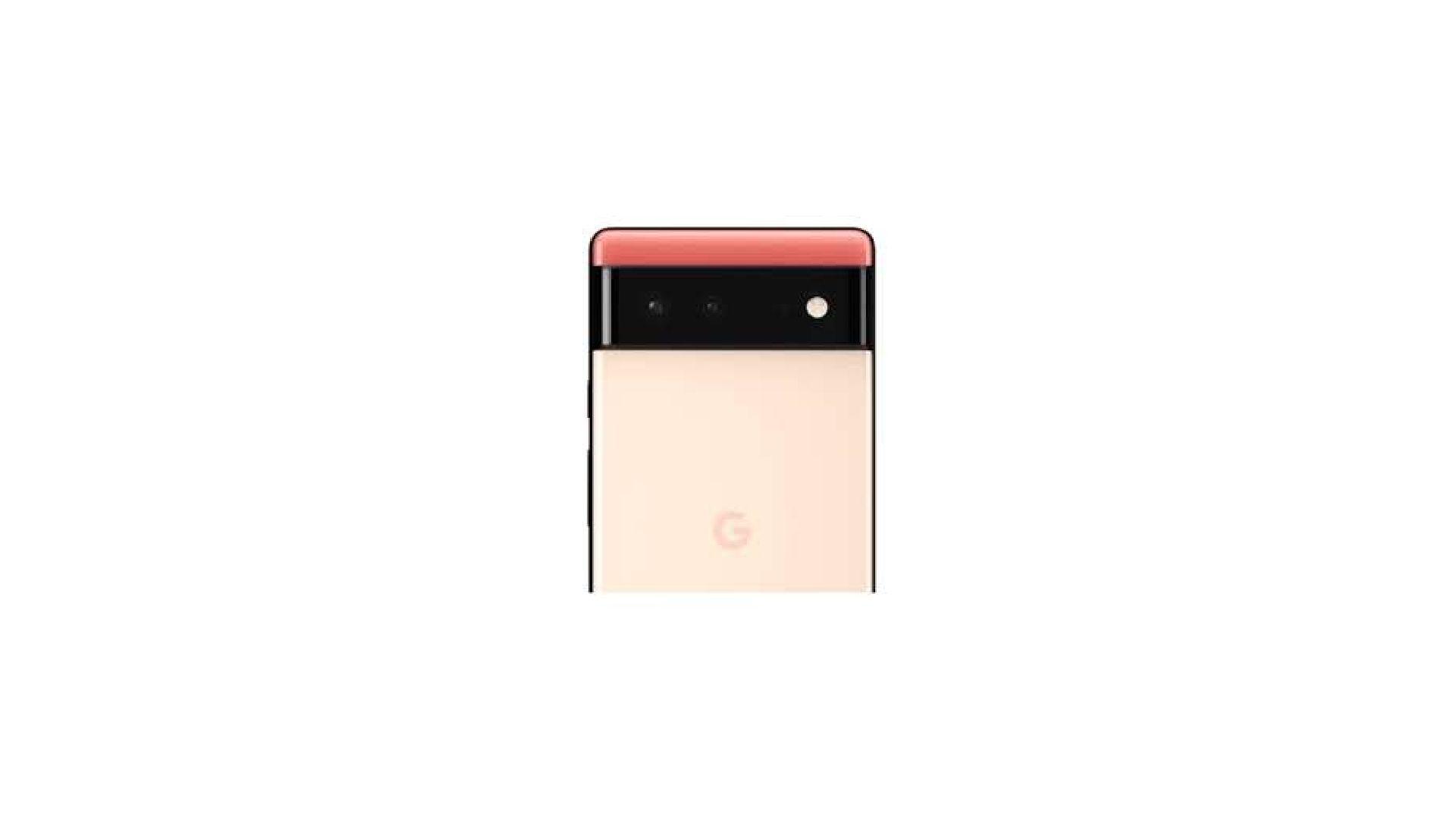 Traseira do Google Pixel 6 rosa em fundo branco