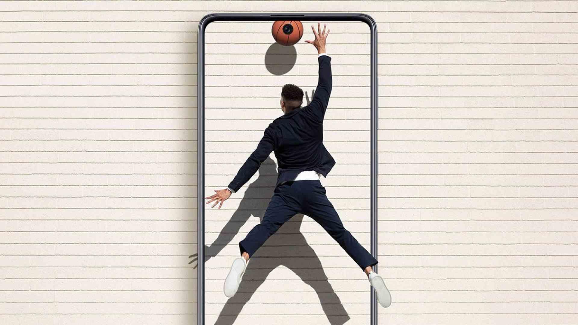 Imagem mostra homem jogando basquete, atravessando molde de A71, dando ar de tela 3D